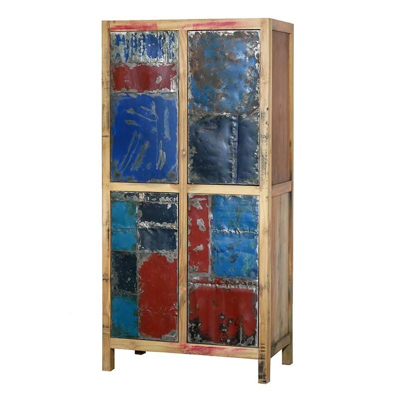N°3.3SI07 - Meuble Haut LOFT en bois recyclé 4 portes