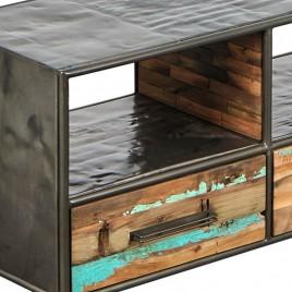 N°5.5AK27 - meuble TV industriel Drum 3 tiroirs bidons et bois recyclé