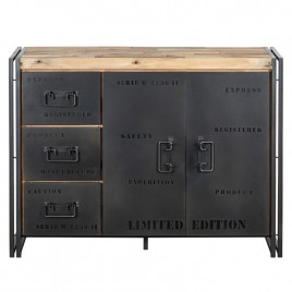 Buffet industriel 2 portes 3 tiroirs 120 cm FACTORY