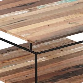 N°1.5AK280 - Table basse carrée 2 plateaux Nako 80 cm