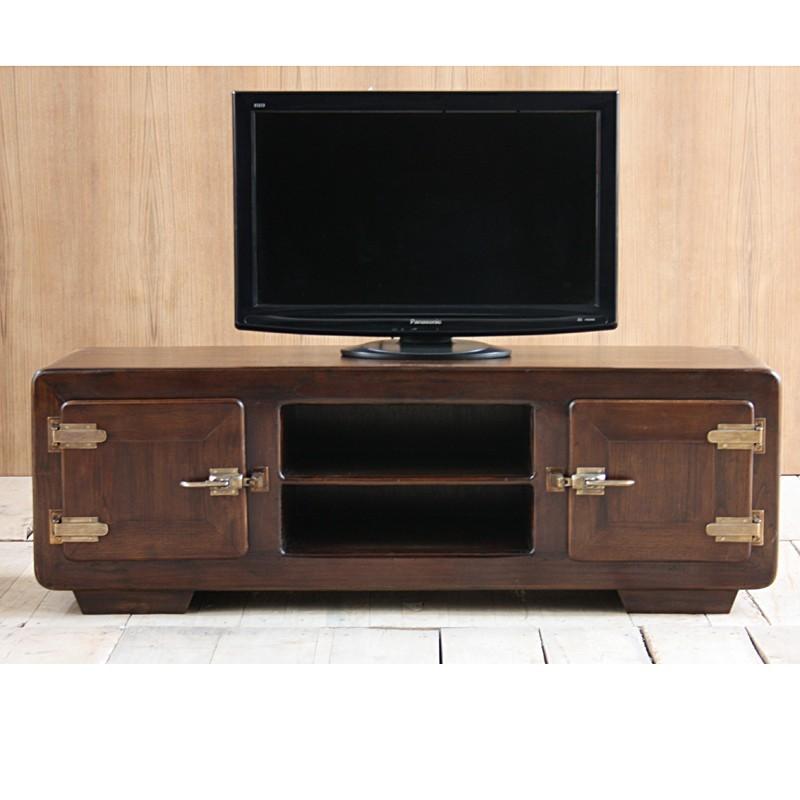 meuble tv 2 portes en teck naturel pas cher en vente chez. Black Bedroom Furniture Sets. Home Design Ideas