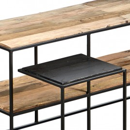 N°1.5AK33 - Meuble TV Contemporain 160 cm métal et bois recyclé