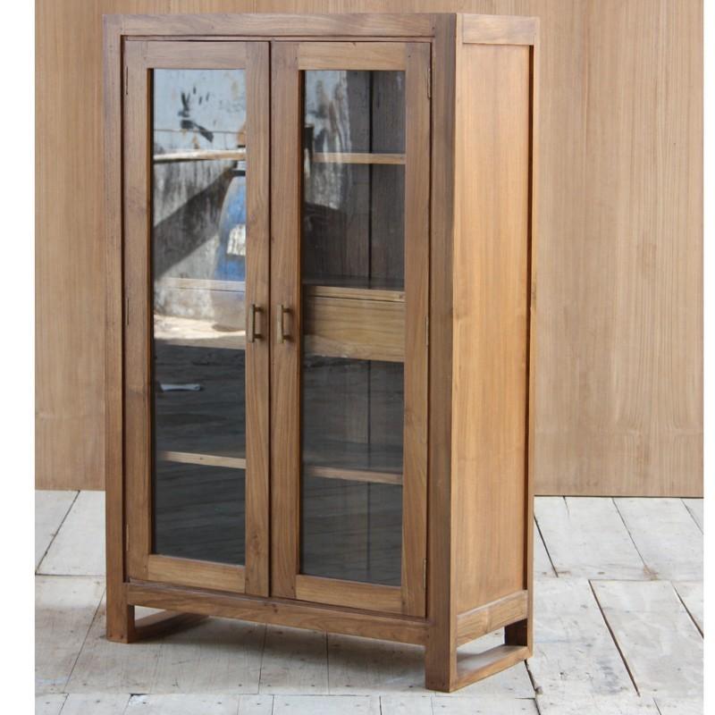 vitrine 2 portes en teck pas cher en vente chez origin 39 s meubles. Black Bedroom Furniture Sets. Home Design Ideas