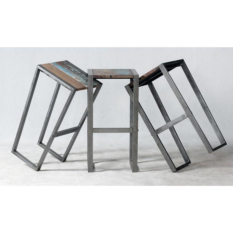 magnifique tabouret de bar industriel wings en fer en bois. Black Bedroom Furniture Sets. Home Design Ideas