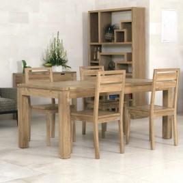 Table repas fixe en teck Naturel
