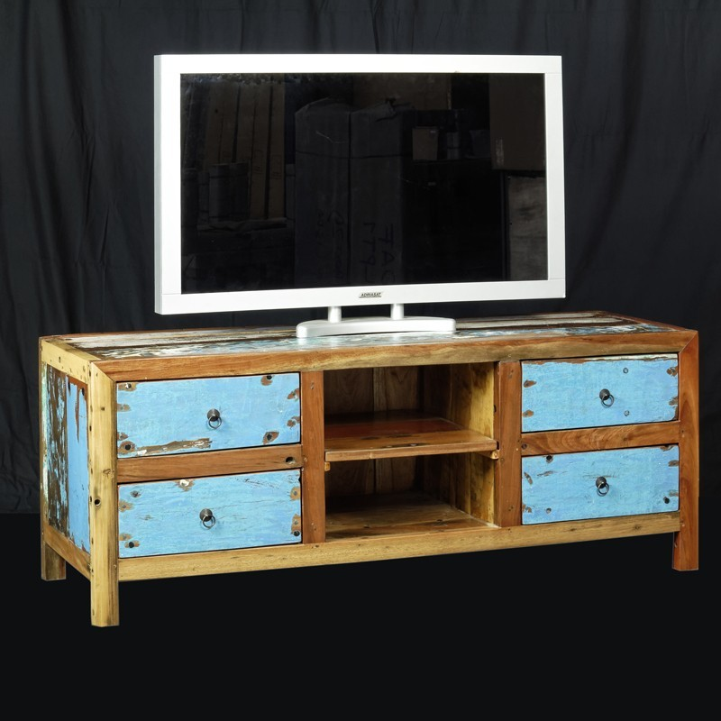 meuble tv bois de bateau recycle en teck de chez origin 39 s meubles. Black Bedroom Furniture Sets. Home Design Ideas