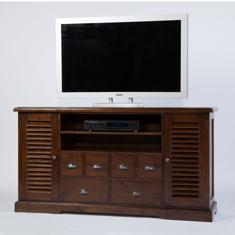 tr s tendance meuble tv colonial 2p 4t en teck. Black Bedroom Furniture Sets. Home Design Ideas