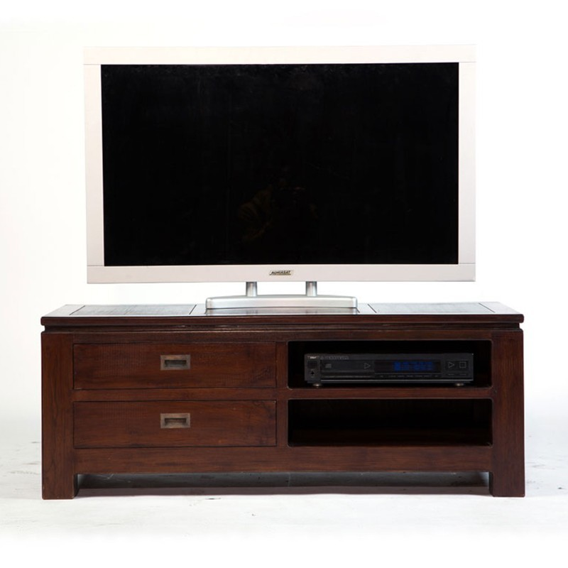 tr s tendance meuble tv halong en teck bicolore. Black Bedroom Furniture Sets. Home Design Ideas