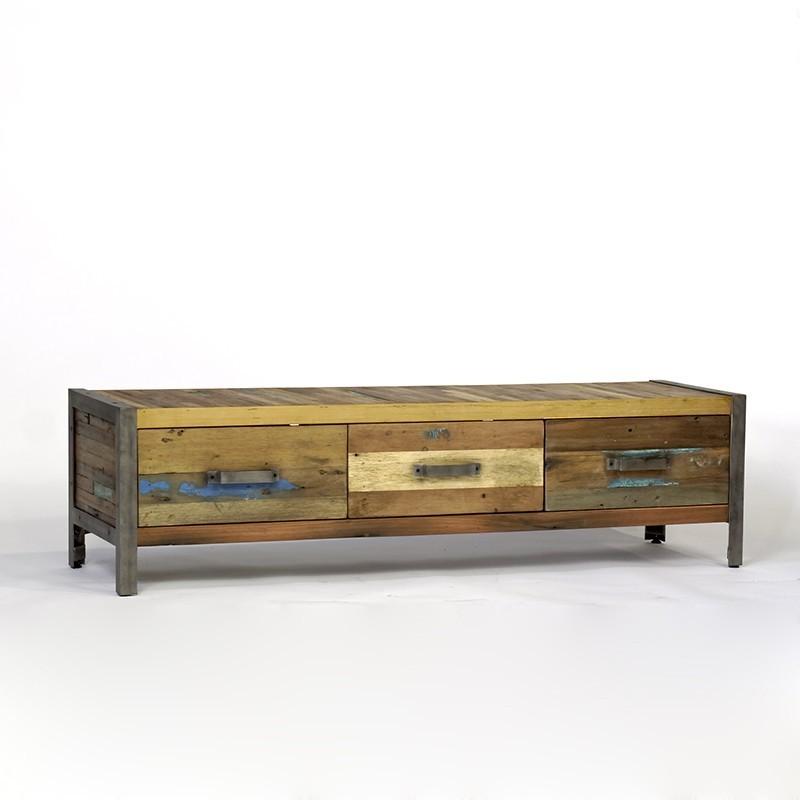 meuble tv industriel bois de bateau recycl pas cher en vente chez origin 39 s meubles. Black Bedroom Furniture Sets. Home Design Ideas