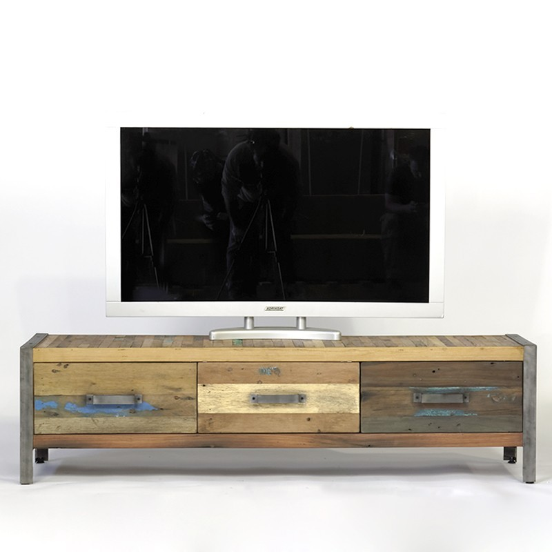 Meuble tv industriel bois de bateau recycl pas cher en for Meuble tv 3 suisses