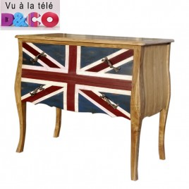 Commode en teck Dubarry 2 tiroirs Union Jack