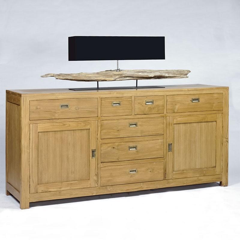 buffet en teck 2 portes 7 tiroirs teck naturel pas cher en vente chez origin 39 s meubles. Black Bedroom Furniture Sets. Home Design Ideas