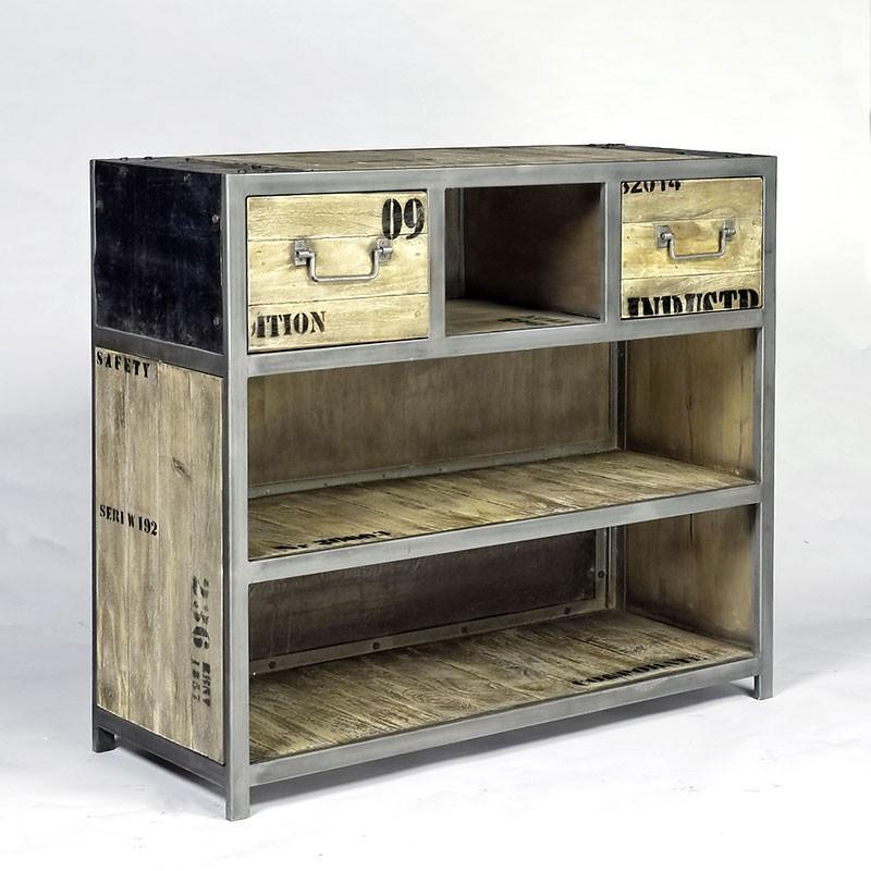 bar ego industriel 2 tiroirs pas cher en vente chez origin 39 s meubles. Black Bedroom Furniture Sets. Home Design Ideas