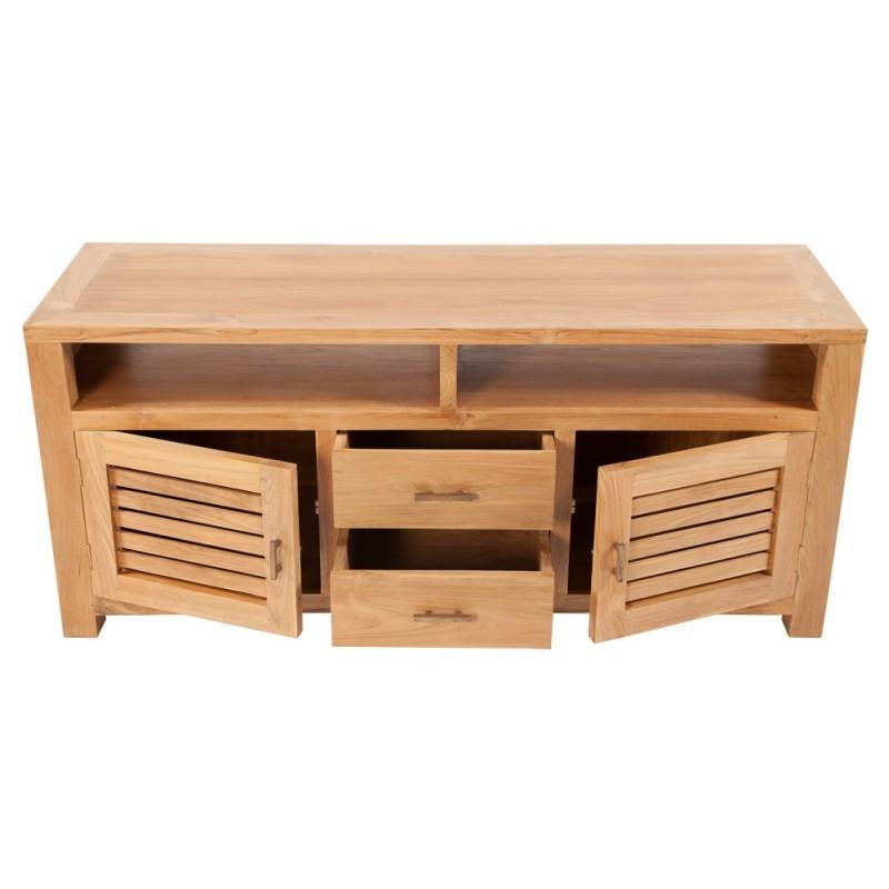Meuble tv teck 2 portes 2 tiroirs origin 39 s meubles for Nettoyer meuble teck
