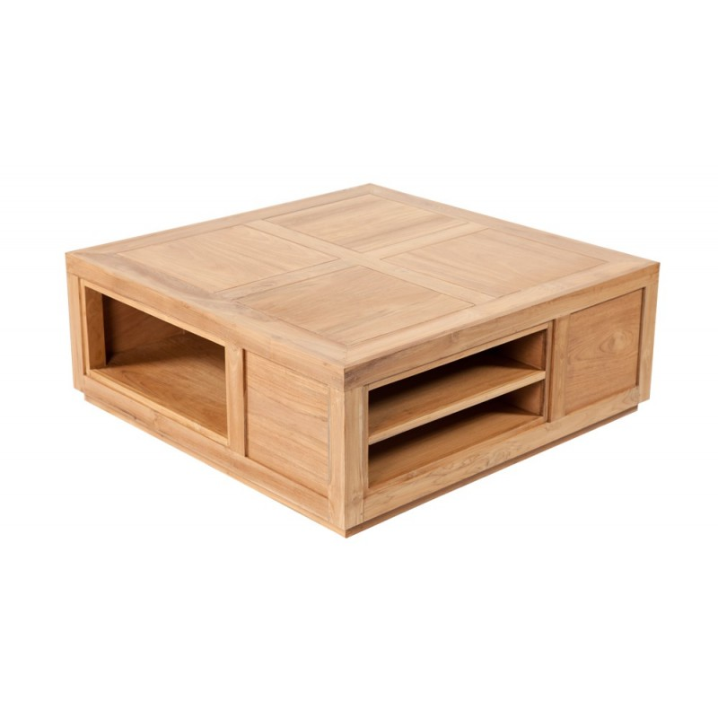 table basse cube en teck desing. Black Bedroom Furniture Sets. Home Design Ideas
