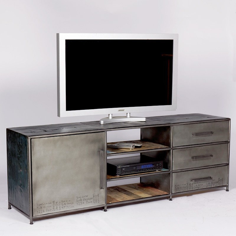 superbe meuble tv industriel kl o r alis en bidons et bois de bateau recycl. Black Bedroom Furniture Sets. Home Design Ideas