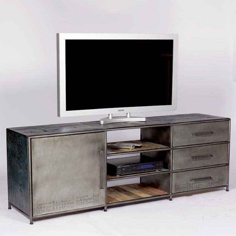 Superbe Meuble TV industriel Kléo réalisé en bidons et bois de bateau recyclé -> Meuble Industriel Bois Bateau