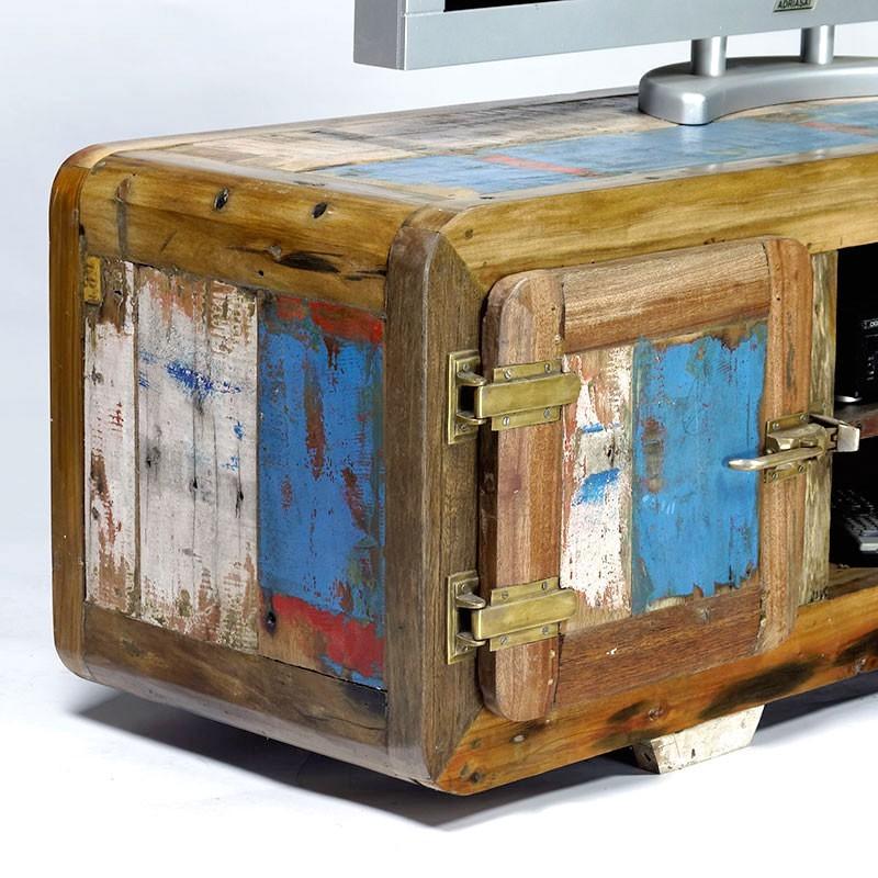 Meuble Glaciere Bois meuble tv vintage 2 portes bois de bateau recyclé pas cher en vente