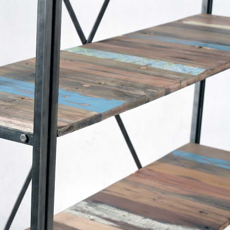 grande tag re industrielle fer et bois de bateau recycl. Black Bedroom Furniture Sets. Home Design Ideas