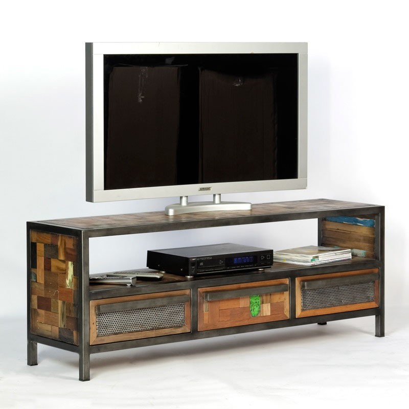 original meuble tv industriel atelier en m tal et bois recycl. Black Bedroom Furniture Sets. Home Design Ideas