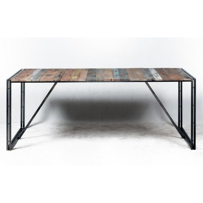 tr s tendance table repas industrielle urban en fer et planche de bois de bateau. Black Bedroom Furniture Sets. Home Design Ideas