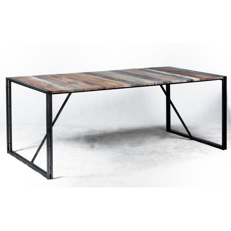 Tr s tendance table repas industrielle urban en fer et for Table bois fer industriel