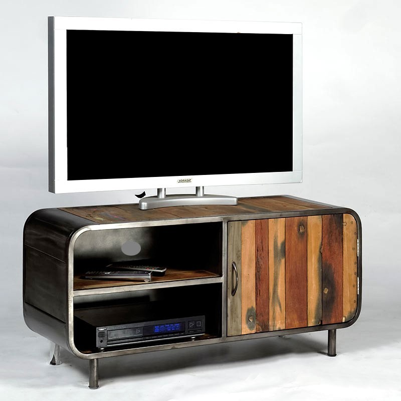 meuble tv 1 porte 2 niches en m tal et bois de bateau recycl pas cher. Black Bedroom Furniture Sets. Home Design Ideas