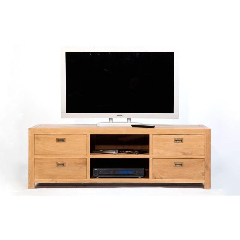 Meuble tv en teck naturel pas cher livraison gratuite - Meuble tv teck ...