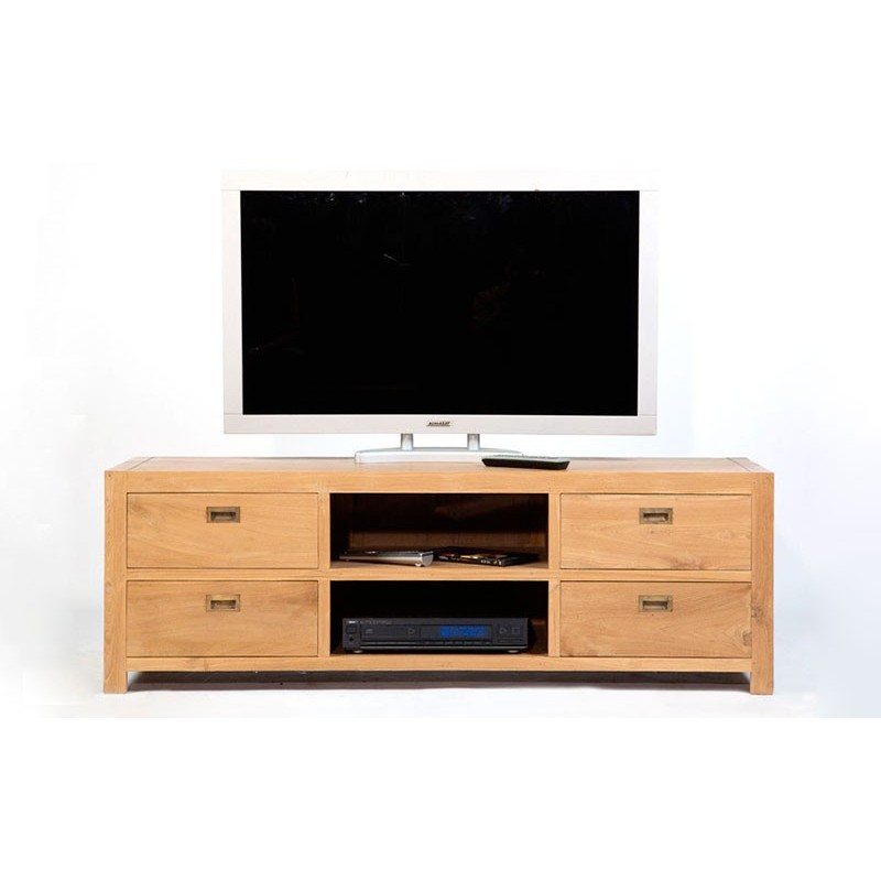 meuble tv en teck naturel pas cher livraison gratuite. Black Bedroom Furniture Sets. Home Design Ideas