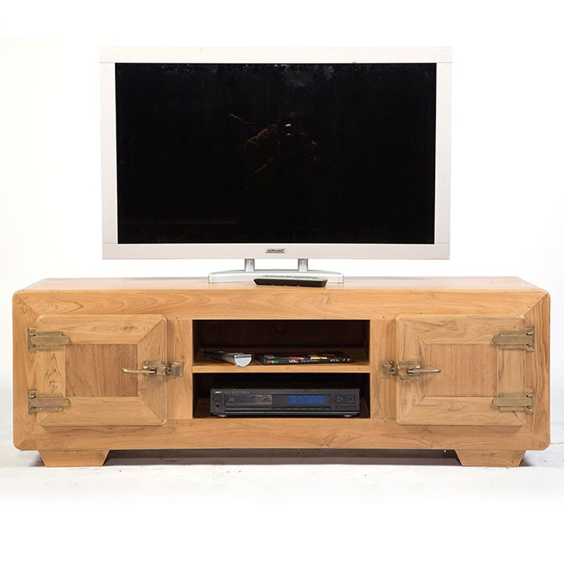 Meuble tv fa on glaci re 2 portes en teck naturel pas cher for Meuble tv opium