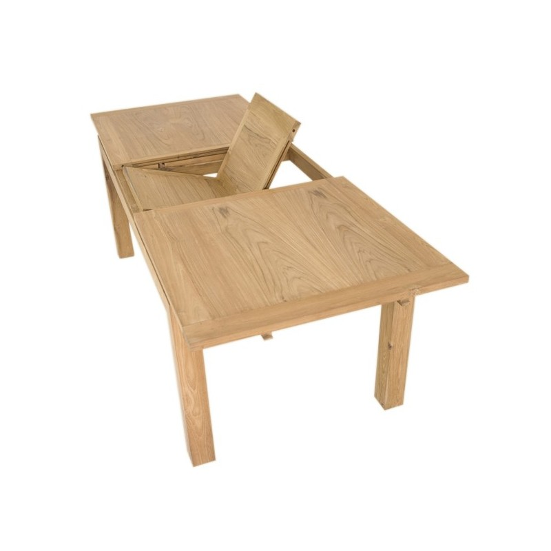 Table repas extensible en teck macao origins for Table a manger a rallonge design