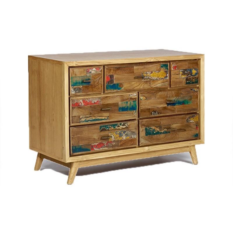 Commode 7 tiroirs Fancy en Teck et bois de bateau pas cher