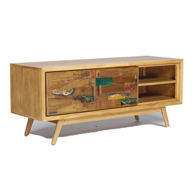 meuble tv esprit scandinave en teck et bois de bateau pas cher. Black Bedroom Furniture Sets. Home Design Ideas