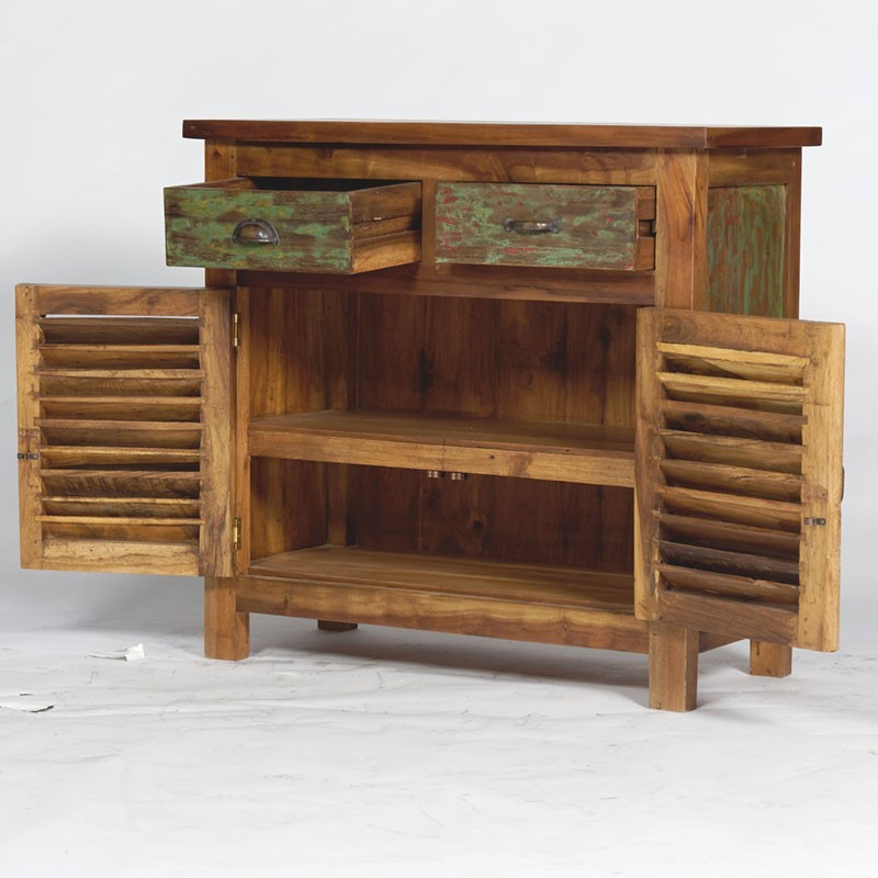 buffet en bois recycl color 2 portes 2 tiroirs livraison gratuite. Black Bedroom Furniture Sets. Home Design Ideas