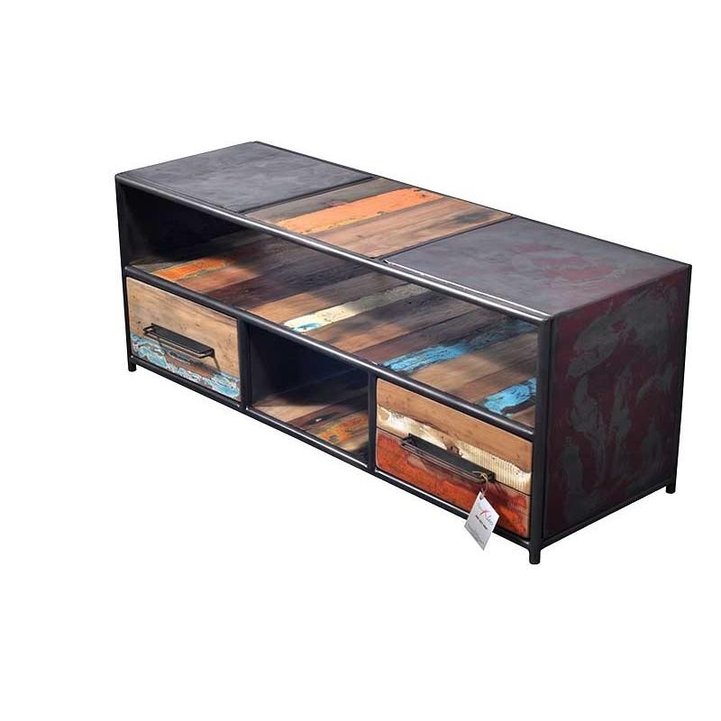 Meuble tv industriel drum 2 tiroirs 120 cm en m tal et for Meuble tiroir industriel