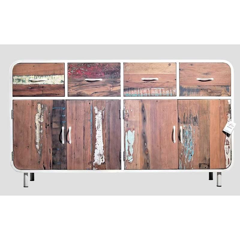 esprit vintage buffet industriel m tal blanc et bois de bateau recycl. Black Bedroom Furniture Sets. Home Design Ideas