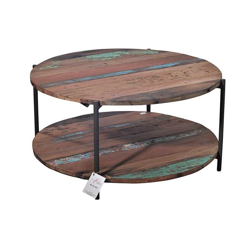 table basse ronde en m tal et bois de recycl livraison gratuite. Black Bedroom Furniture Sets. Home Design Ideas