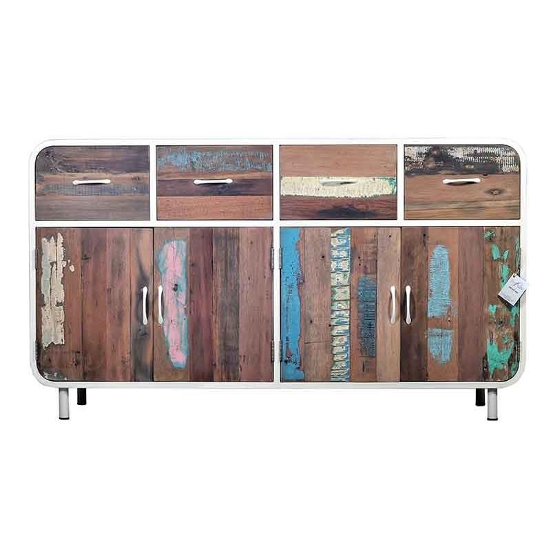 Buffet Industriel esprit vintage buffet industriel métal blanc et bois de bateau recyclé