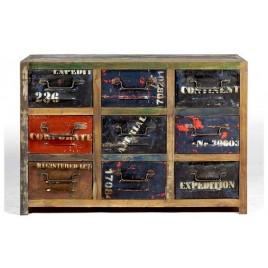 Meuble 9 tiroirs industriel bois de bateau