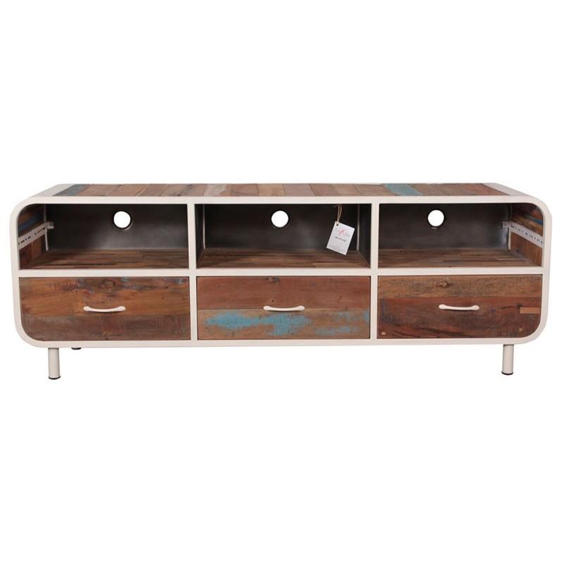Meuble TV vintage Alaska avec 3 tiroirs 160 en métal et bois recyclé