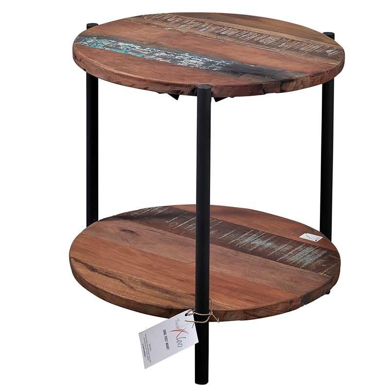 bout de canap rond en m tal et bois de recycl livraison. Black Bedroom Furniture Sets. Home Design Ideas