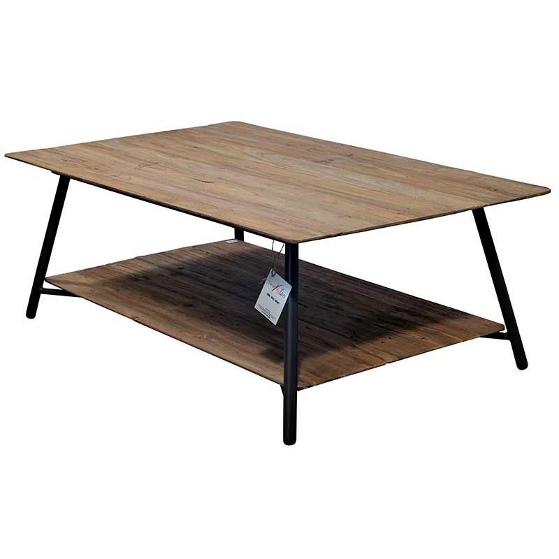 N°2.4 A59 - Table basse rectangulaire Louvre en métal et teck recyclé Louvre