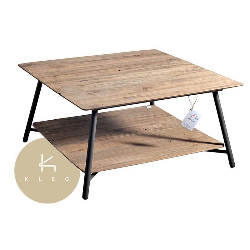 Table basse carr e en m tal et teck massif recycl louvre for Table basse teck et metal