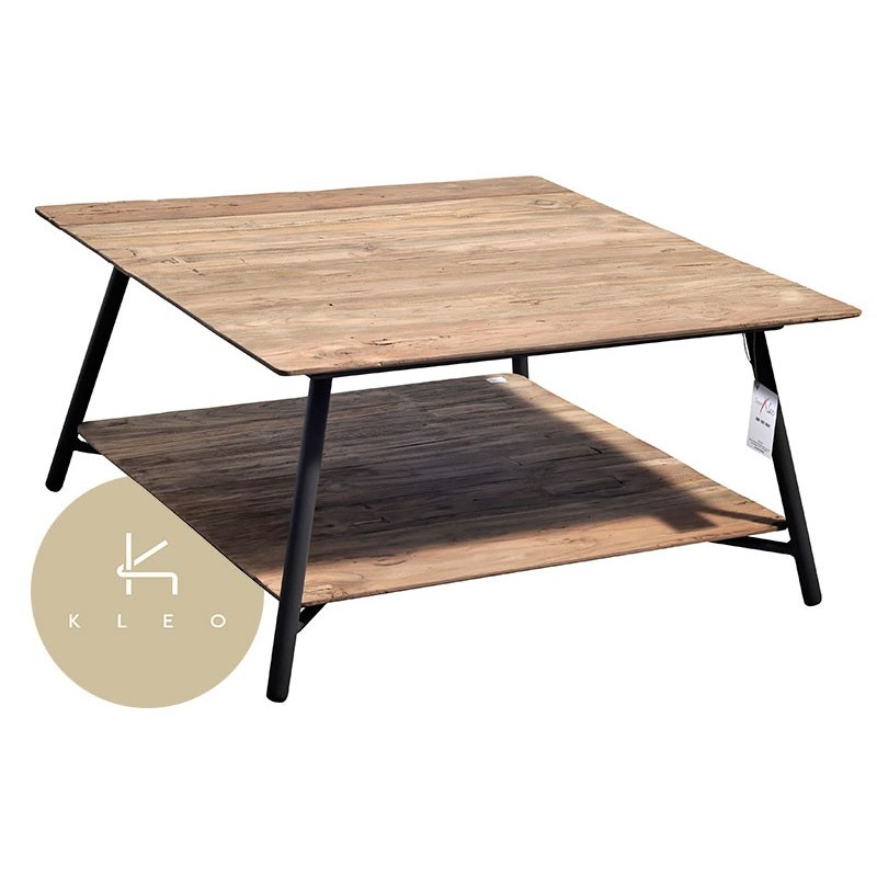 Table basse carr e en m tal et teck massif recycl louvre for Table basse carree metal