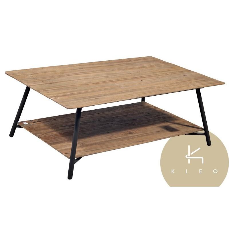 table basse rectangulaire louvre en mtal et teck recycl louvre