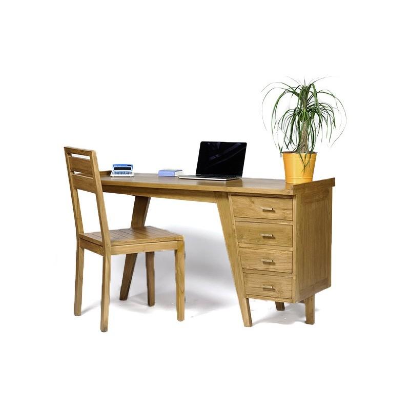 superbe bureau fifty teck naturel. Black Bedroom Furniture Sets. Home Design Ideas