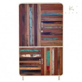 Armoire industrielle 4 portes métal blanc et bois de bateau recycle