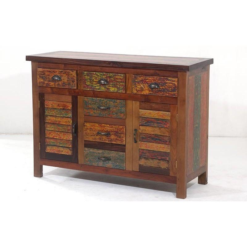 N° 4.4SI03 - Buffet bois recyclé coloré 125 BOOGIE