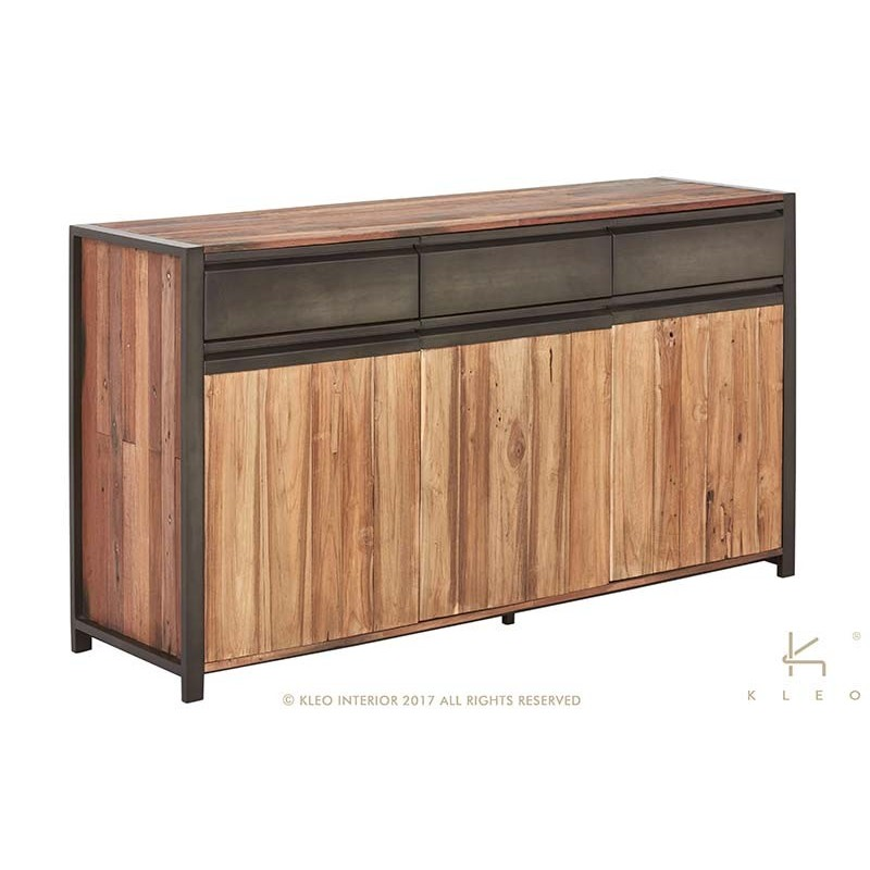 buffet indus newport en fer et teck recycl mobilier pas cher de qualit. Black Bedroom Furniture Sets. Home Design Ideas