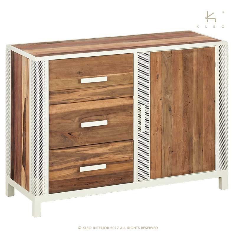 buffet industriel 1 porte 3 tiroirs en m tal et bois de teck recycl livraison gratuite. Black Bedroom Furniture Sets. Home Design Ideas